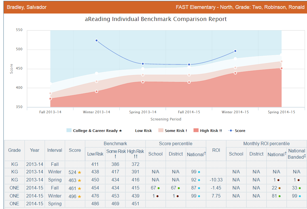 aReading Individual Benchmark Report